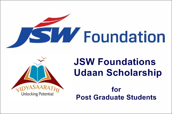 JSW Foundations Udaan Scholarship for Post Graduate Students